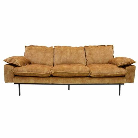 HK-living Bank retro sofa 3-zits mosterdgeel fluweel 225x83x95cm