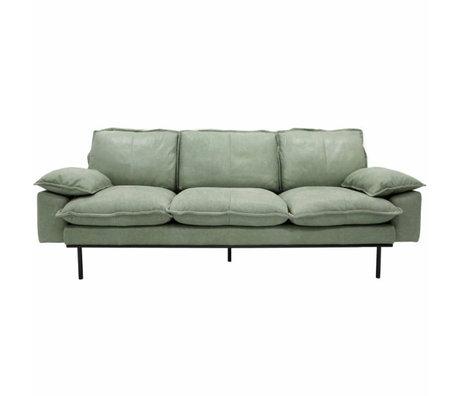 HK-living Bank retro sofa 3-zits mint groen leer 225x83x95cm