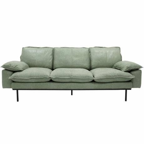 HK-living Sofa retro sofa 3-seater mint green leather 225x83x95cm