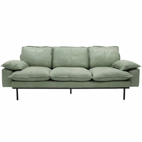 HK-living Sofa retro Sofa 3-Sitzer mintgrün Leder 225x83x95cm