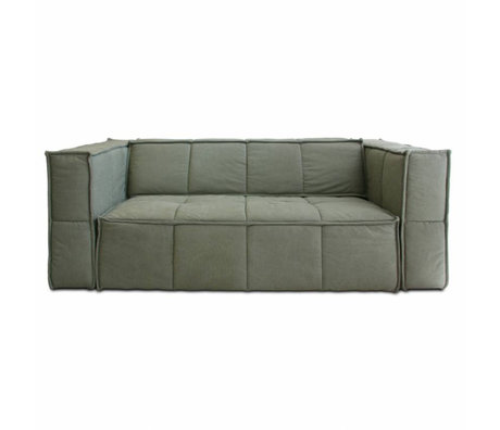 HK-living Sofa Cube 3-seat army green canvas 210x102x75cm