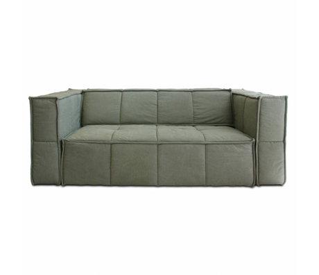 HK-living Sofa Cube 3-Sitzer Armee grüne Leinwand 210x102x75cm
