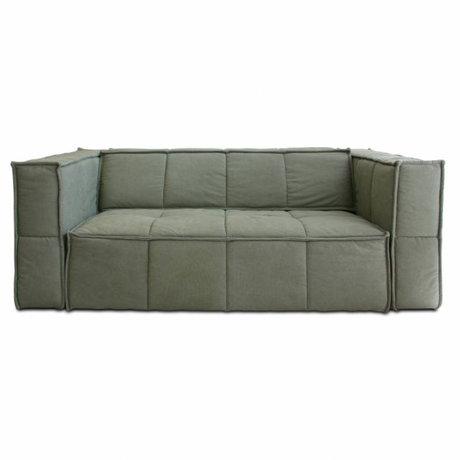 HK-living Sofa Cube 3-Sitzer Armee grün Leinwand 210x102x75cm