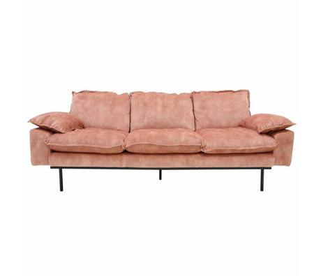 HK-living Sofa retro Sofa 3-Sitzer alt rosa Samt 225x83x95cm