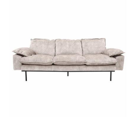 HK-living Bank retro sofa 3-zits crème fluweel 225x83x95cm