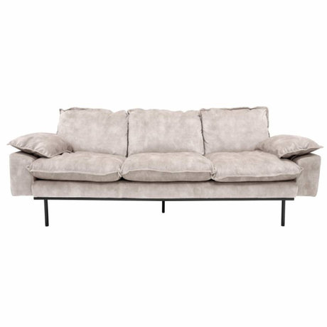 HK-living Sofa retro Sofa 3-Sitzer Samt 225x83x95cm