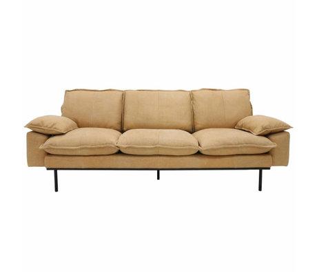 HK-living Sofa retro Sofa 3-Sitzer naturbraun Leder 225x83x95cm