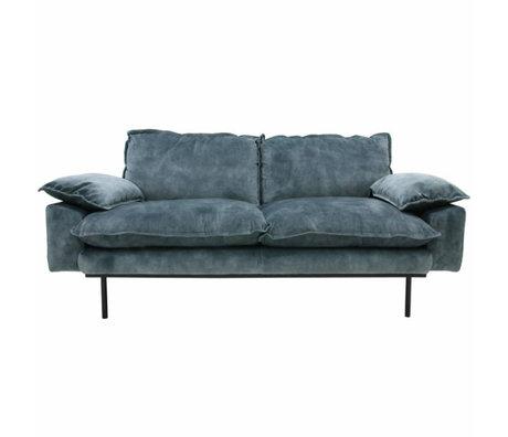 HK-living Sofa retro Sofa 2-Sitzer Petrolblau Velvet175x83x95cm