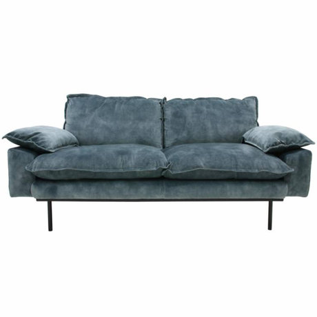 HK-living Bank retro sofa 2-zits petrol blauw fluweel175x83x95cm