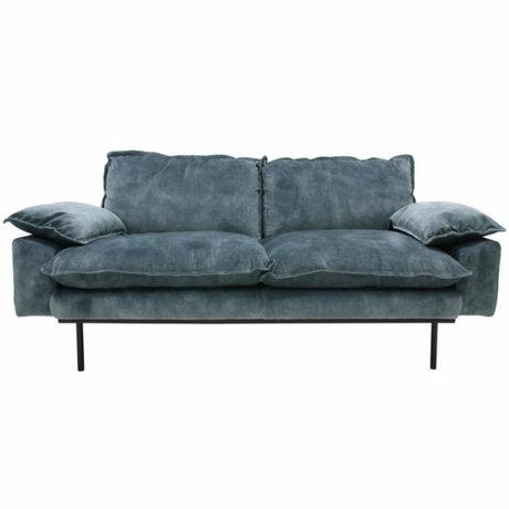 HK-living Sofa retro sofa 2-seater petrol blue velvet175x83x95cm