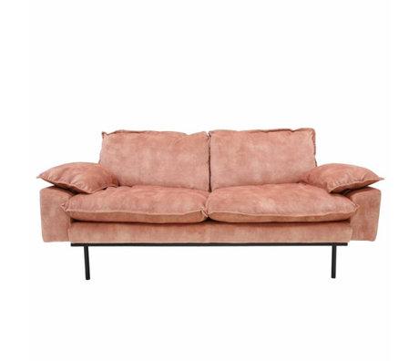 HK-living Sofa retro sofa 2-seater old pink velvet 175x83x95cm