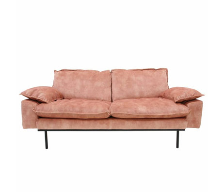 HK-living Sofa retro Sofa 2-Sitzer alt rosa Samt 175x83x95cm