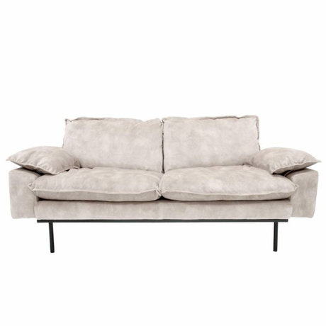 HK-living Bank retro sofa 2-zits crème fluweel 175x83x95cm