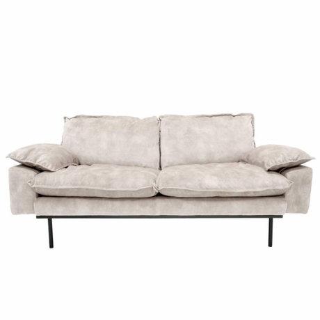 HK-living Sofa retro sofa 2-seater cream velvet 175x83x95cm