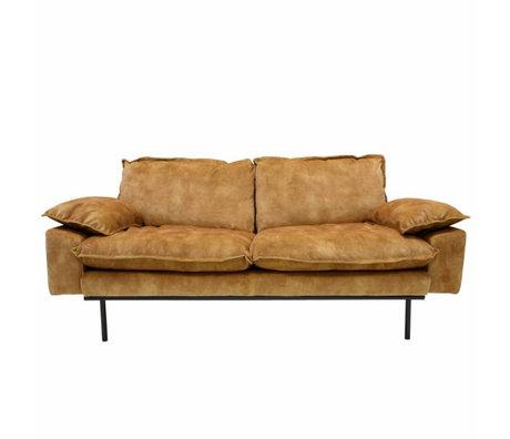 HK-living Bank retro sofa 2-zits mosterdgeel fluweel 175x83x95cm