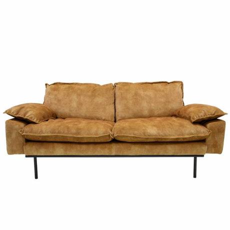 HK-living Sofa retro sofa 2-seater mustard yellow velvet 175x83x95cm