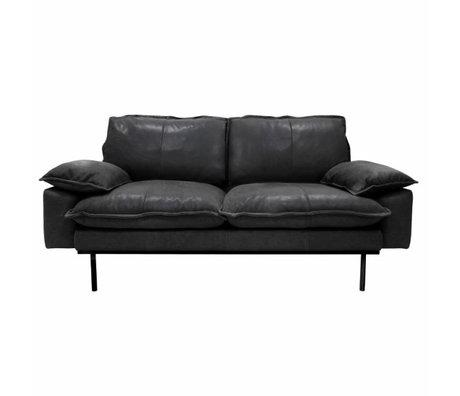HK-living Bank retro sofa 2-zits zwart leer 175x83x95cm