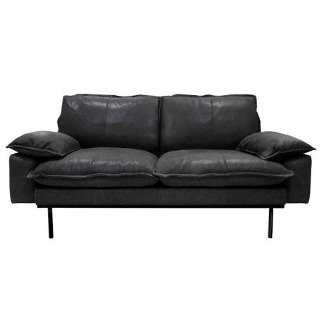HK-living Sofa retro Sofa 2-Sitzer Leder schwarz 175x83x95cm