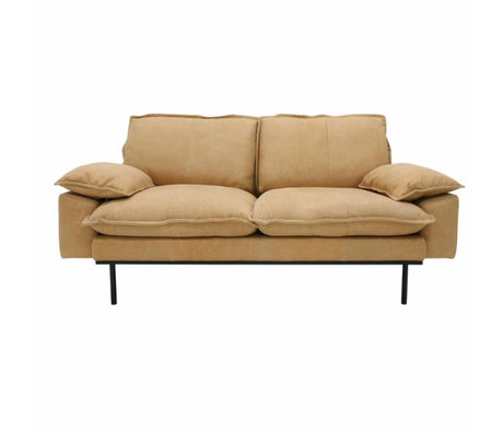 HK-living Bank retro sofa 2-zits naturel bruin leer 175x83x95cm