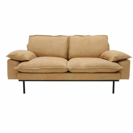 HK-living Sofa retro Sofa 2-Sitzer naturbraun Leder 175x83x95cm