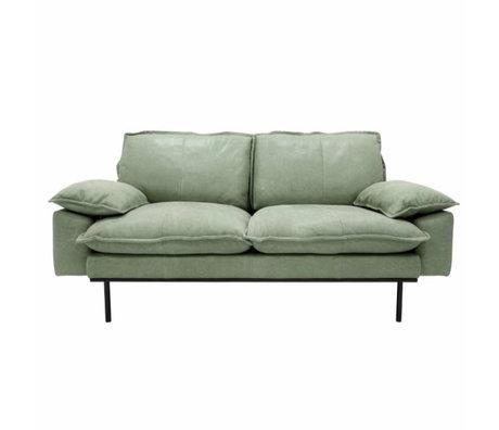HK-living Sofa retro sofa 2-seater mint green leather 175x83x95cm