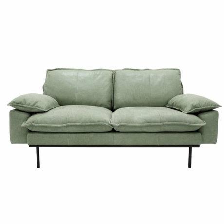HK-living Canapé rétro canapé 2 places en cuir vert menthe 175x83x95cm