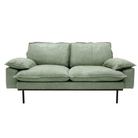 HK-living Sofa retro Sofa 2-Sitzer mintgrünes Leder 175x83x95cm