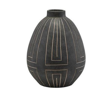 Housedoctor Vase Aljeco grauer schwarzer Stein ⌀32,5x40cm