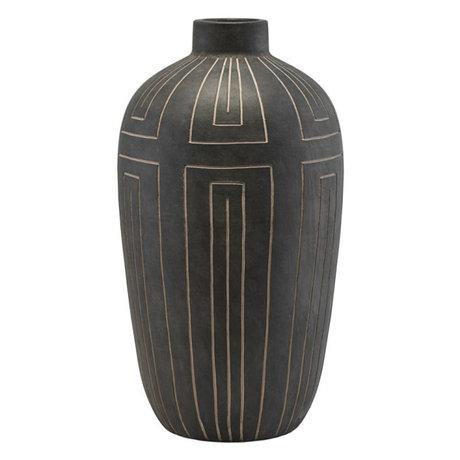 Housedoctor Vase Aljeco graues schwarzes Steingut 31x55cm