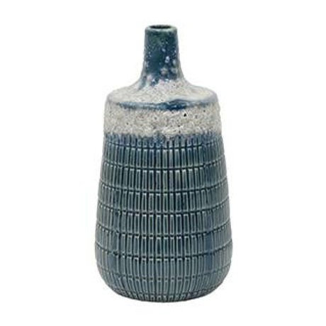 HK-living Vaas M blauw keramiek 10,6x10,6x20,5cm
