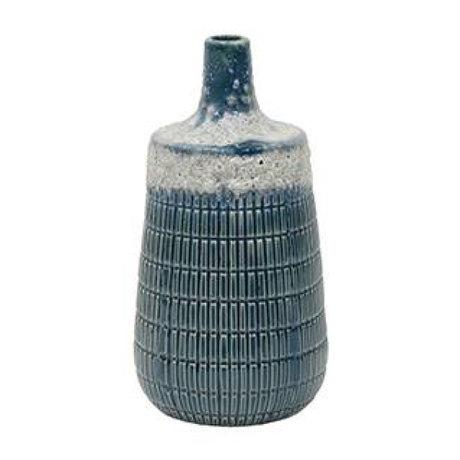 HK-living Vase M blue ceramic 10,6x10,6x20,5cm