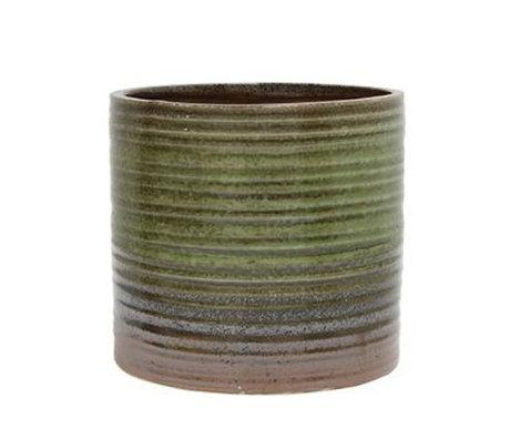HK-living Bloempot groen bruin keramiek 12x12x12,5cm