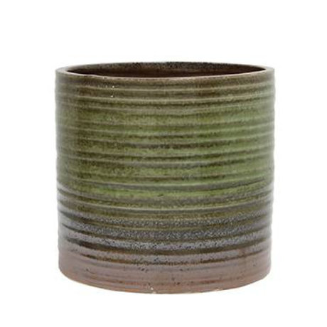 HK-living Flowerpot green brown ceramic 12x12x12,5cm