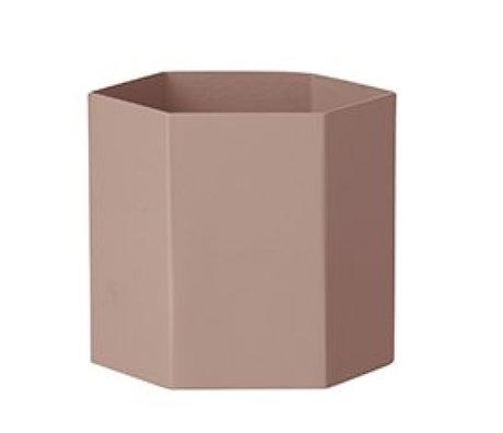 Ferm Living Hexagon rosa Metall-Topf Ø13,5x12cm Große
