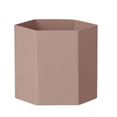 Ferm Living Pot Hexagon roze metaal Ø13,5x12cm Large