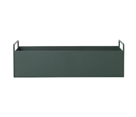 Ferm Living Box Pflanze dunkelgrün metallic S 45x14,5x17cm