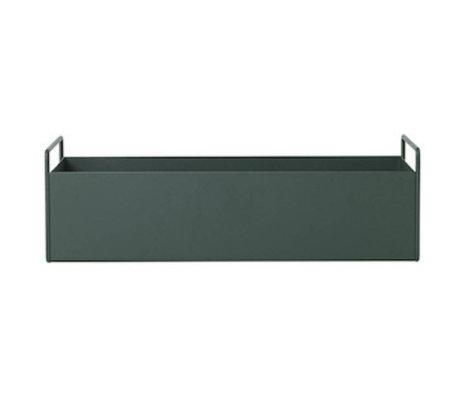 Ferm Living Plant box donker groen metaal S 45x14,5x17cm