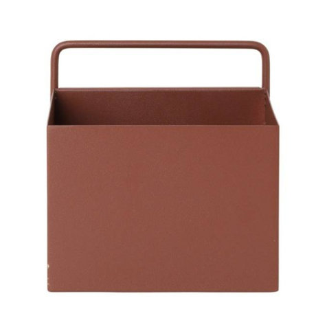 Ferm Living Plant box Wall Square rood bruin metaal 15,6x14,6x15,6cm