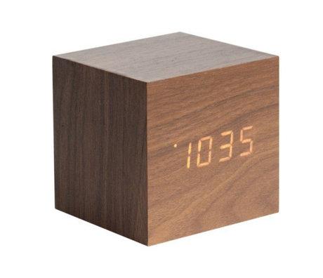 Karlsson Table / Réveil Cube bois brun 8x8cm
