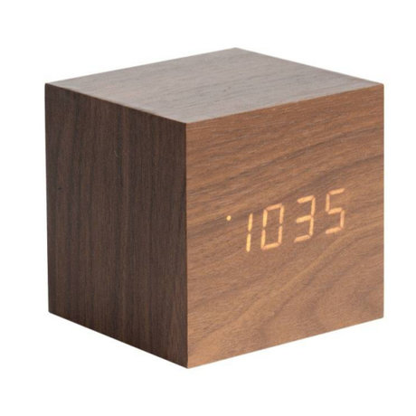 Karlsson Table / Alarm clock Cube brown wood 8x8cm