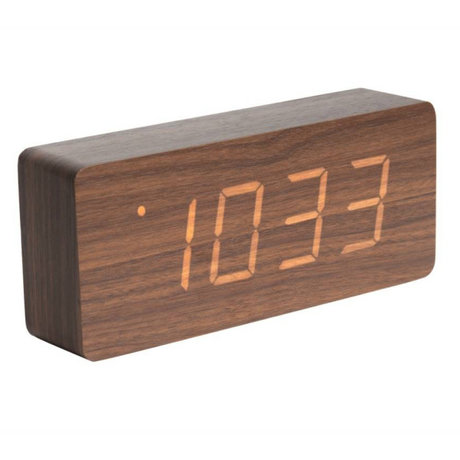 Karlsson Table / Alarm clock Tube brown wood 9x21cm