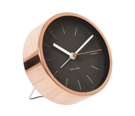 Karlsson Clock alarm clock minimalist black copper ø 10cm