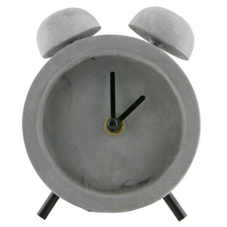 WOOOD Table clock Job gray concrete 10x5x12cm