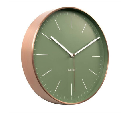 Karlsson Wall clock Minimal green copper steel Ø27,5cm