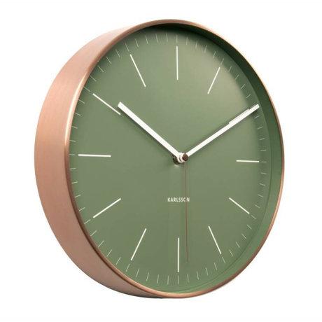 Karlsson Horloge murale en acier cuivre vert minimal Ø27,5cm