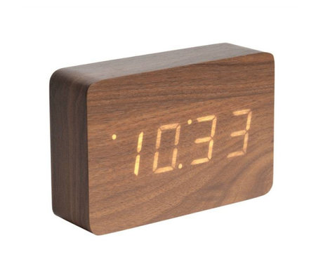 Karlsson Tisch / Wecker Quadratisches braunes Holz 10x15cm