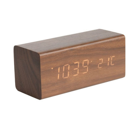Karlsson Tafel/Alarm klok Block bruin hout 7,2x16cm
