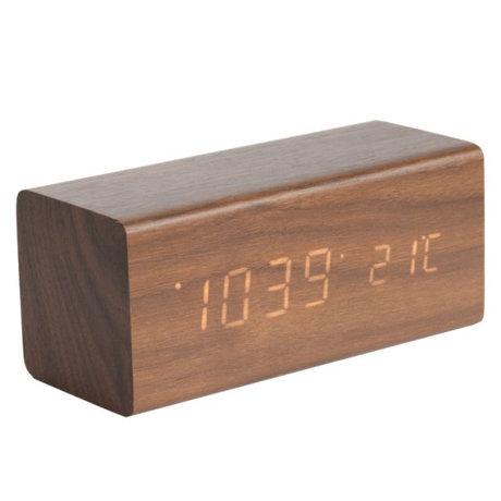 Karlsson Tabelle / Wecker Block-braunes Holz 7,2x16cm