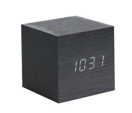 Karlsson Table / Alarm clock Cube black wood 8x8cm