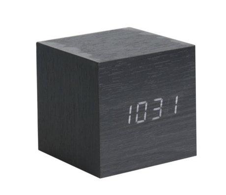 Karlsson Tafel/Alarm klok Cube zwart hout 8x8cm